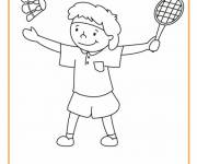 Free coloring and drawings Cute badminton player Coloring page