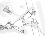 Coloring pages Cutting Badminton Player