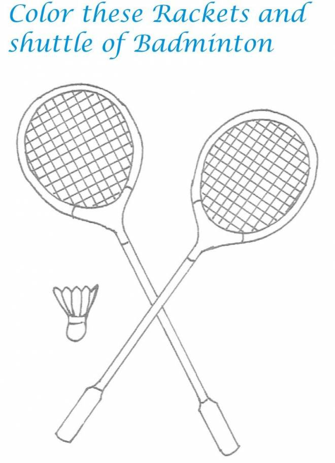 Free coloring and drawings Easy Badminton equipment Coloring page