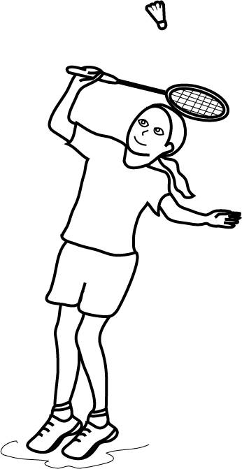 Free coloring and drawings Girl playing badminton Coloring page