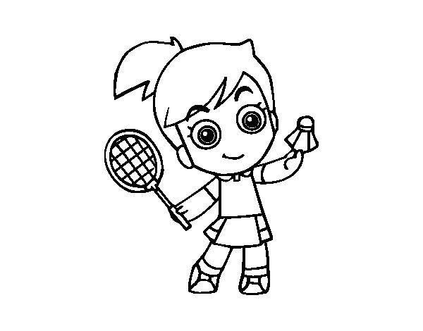 Free coloring and drawings Little Badminton Player Coloring page