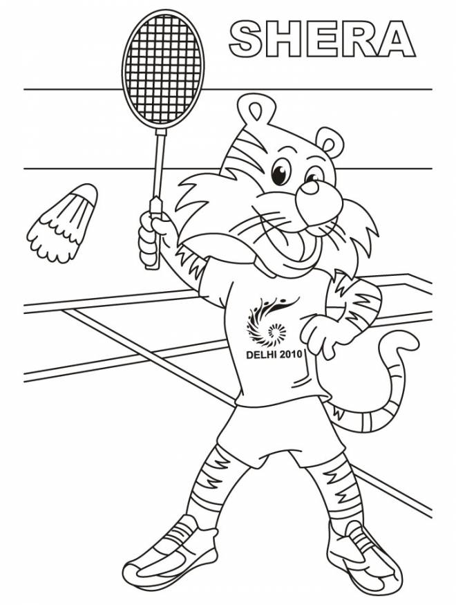 Free coloring and drawings Shera Badminton player Coloring page