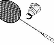 Coloring pages Stylized badminton in black and white