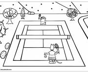 Coloring pages Tennis match in the forest