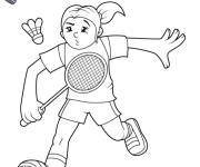 Coloring pages Young girl playing badminton