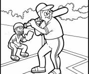 Free coloring and drawings Baseball batter and catcher Coloring page
