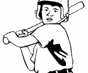 Free coloring and drawings Baseball Hitter in Black Coloring page