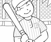 Coloring pages Baseball hitter who smiles