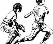 Free coloring and drawings Baseball players Coloring page