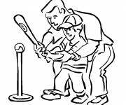 Free coloring and drawings Children and baseball Coloring page