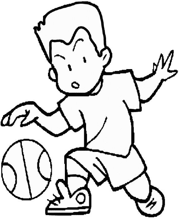 Free coloring and drawings A boy dribbling the basketball Coloring page