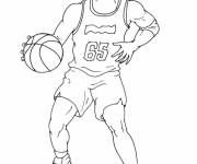 Free coloring and drawings Basketball player dribbles the ball Coloring page