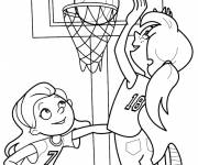 Coloring pages Girls Play Basketball