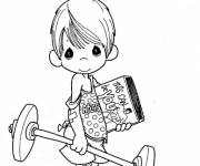 Coloring pages Cute child and bodybuilding