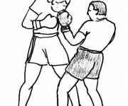 Coloring pages Boxing fight in pencil