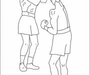Coloring pages Boxing match in black