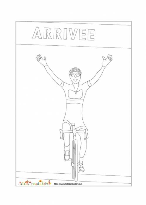 Free coloring and drawings A winning cyclist Coloring page