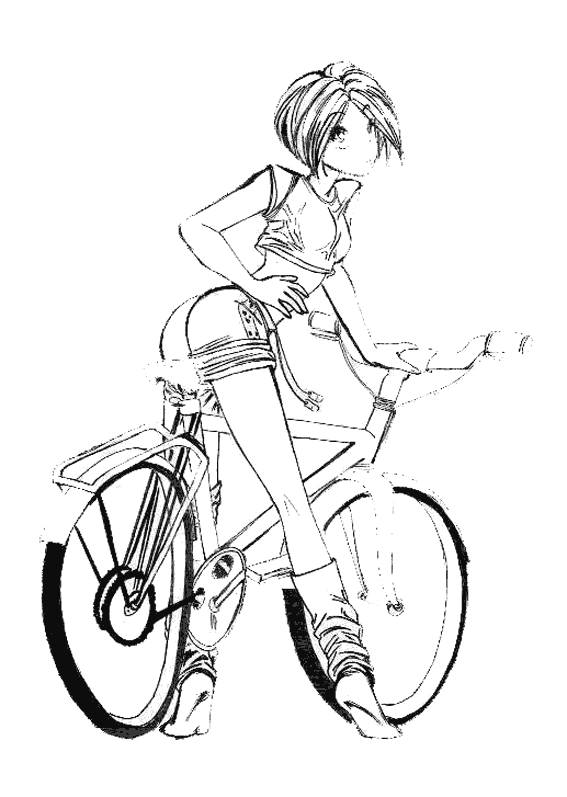 Free coloring and drawings Cartoon cyclist Coloring page