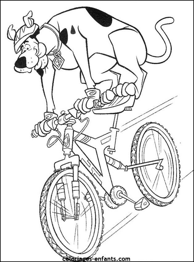 Free coloring and drawings Cartoon cyclist dog Coloring page