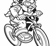 Coloring pages Cheerful child on mountain bike