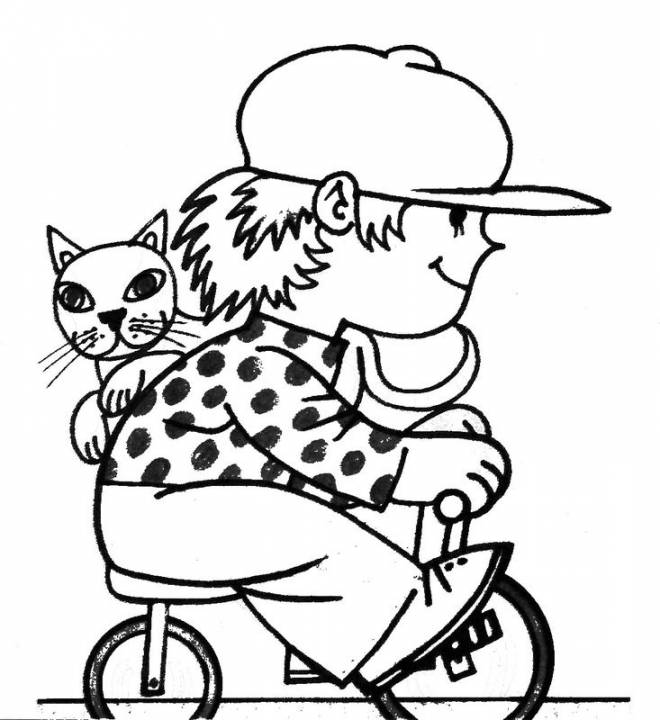 Free coloring and drawings Child and his cat on his bicycle Coloring page