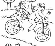 Coloring pages Children having fun on their bikes