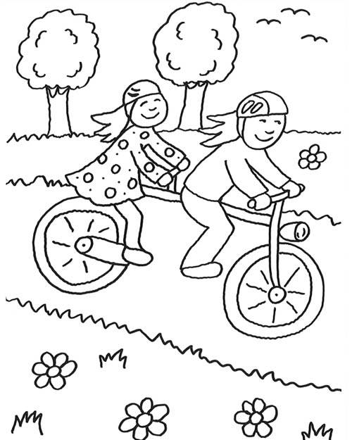 Free coloring and drawings Children having fun on their bikes Coloring page