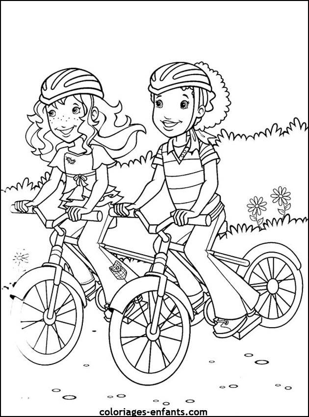Free coloring and drawings Cycling in the Countryside Coloring page