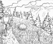Coloring pages Cycling in The Mountain