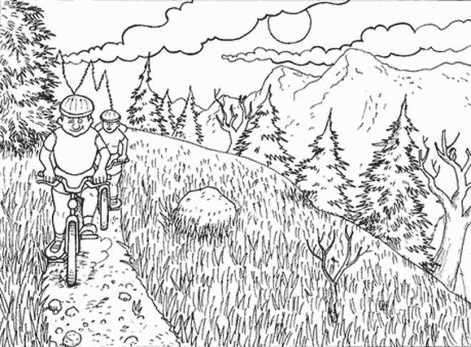 Free coloring and drawings Cycling in The Mountain Coloring page