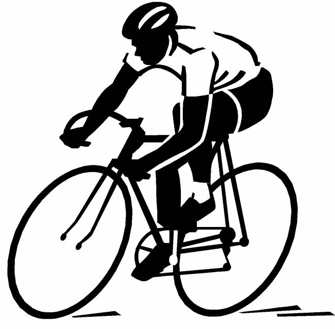 Free coloring and drawings Cycling Silhouette Coloring page