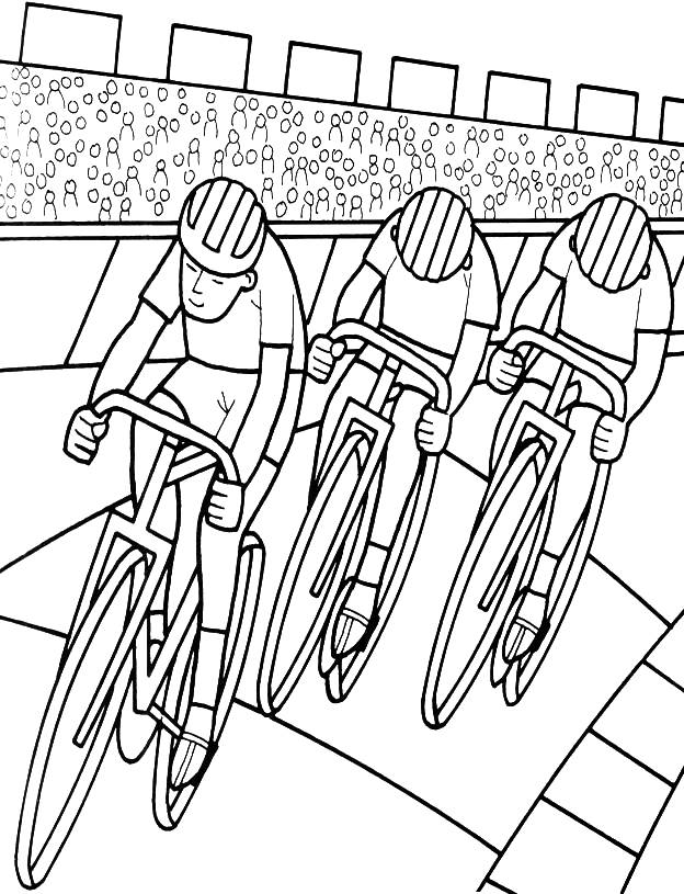 Free coloring and drawings Cycling speed race Coloring page