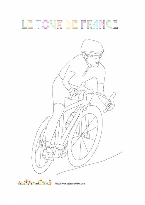 Free coloring and drawings Cycling The simple Tour de France Coloring page