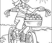 Coloring pages Cyclist carrying strawberries