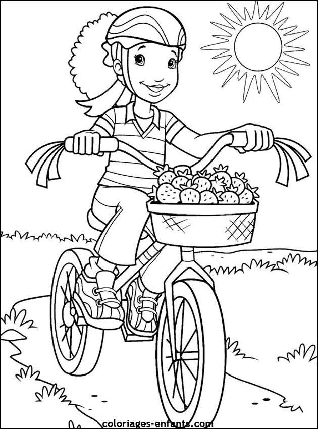 Free coloring and drawings Cyclist carrying strawberries Coloring page