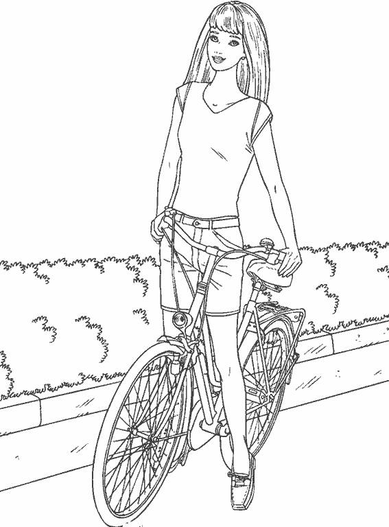 Free coloring and drawings Cyclist girl Coloring page