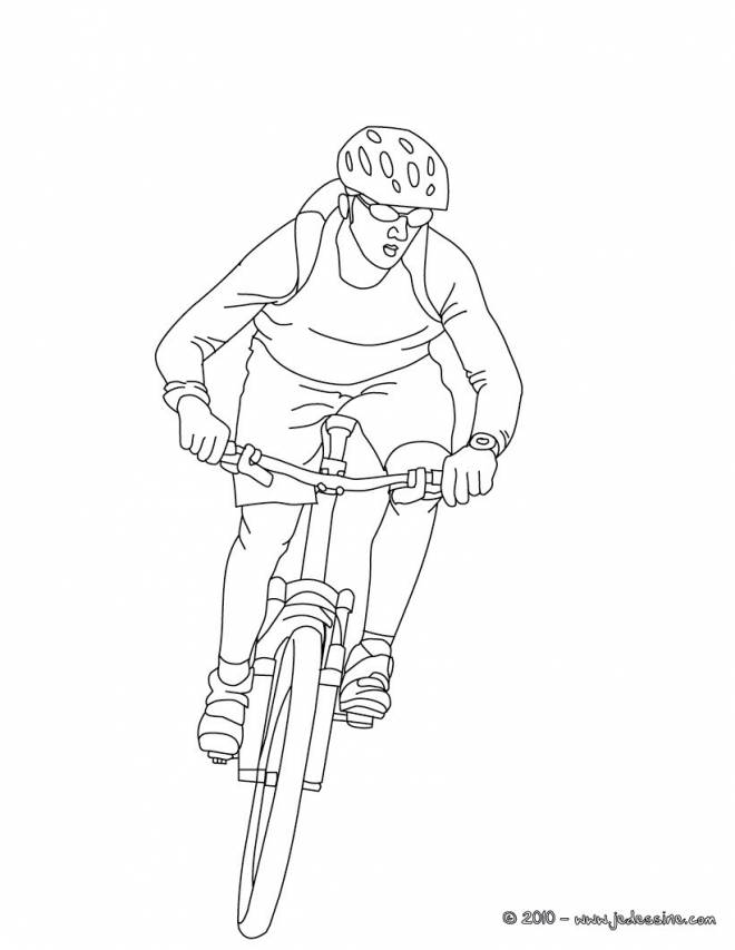 Free coloring and drawings Cyclist in race Coloring page