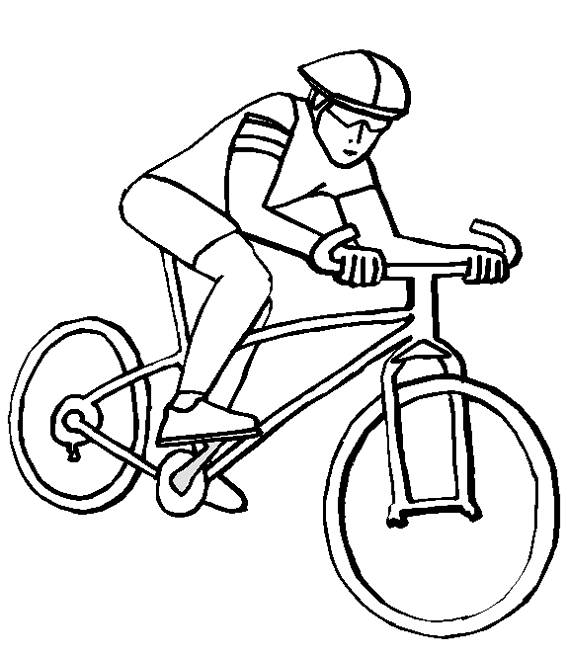 Free coloring and drawings Cyclist on bike Coloring page