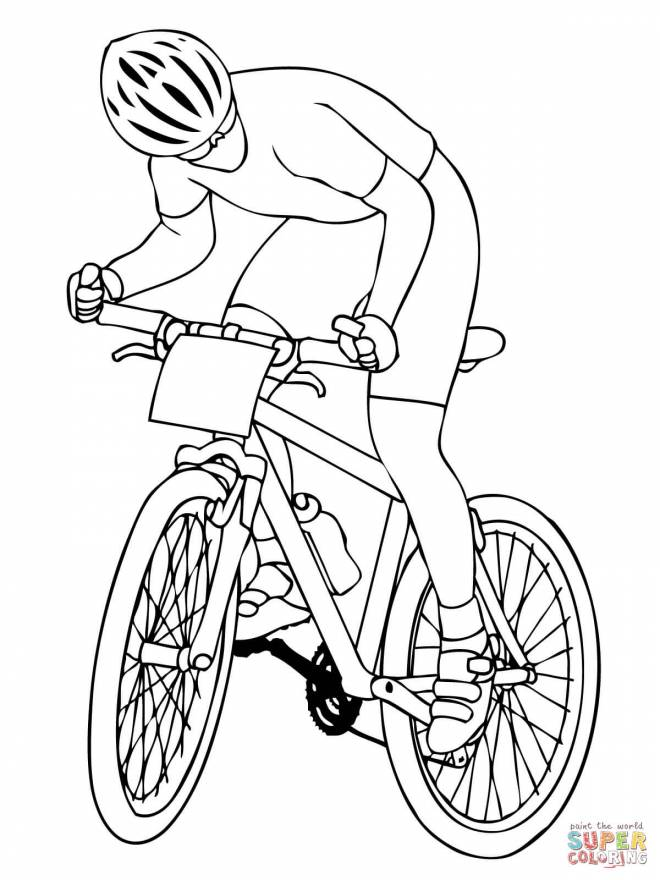 Free coloring and drawings Cyclist Tour Coloring page