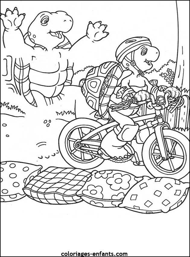 Free coloring and drawings Cyclist turtle Coloring page