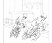 Free coloring and drawings Cyclists in race Coloring page
