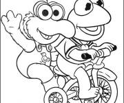 Coloring pages Frog on Bike