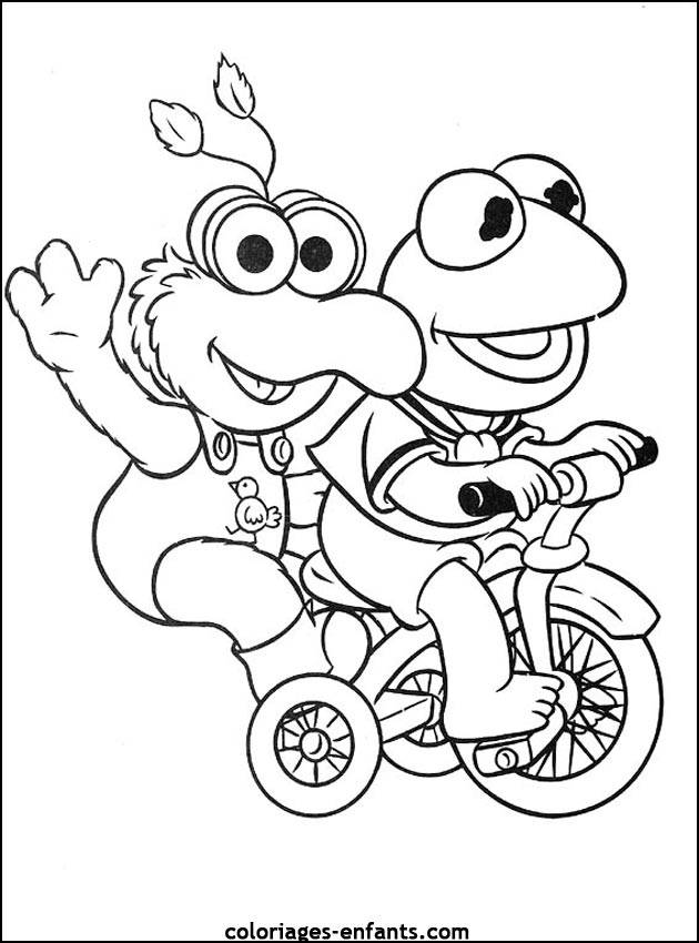 Free coloring and drawings Frog on Bike Coloring page