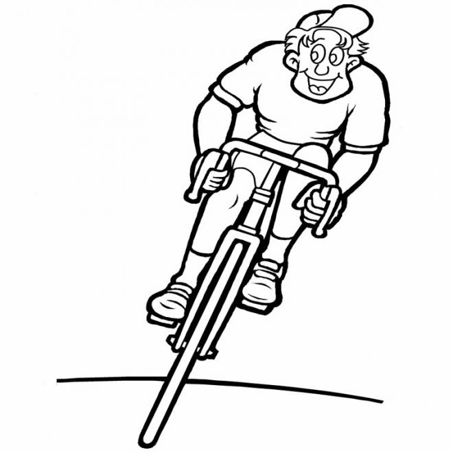 Free coloring and drawings Happy cyclist Coloring page