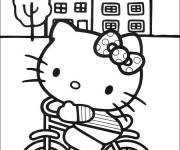 Coloring pages Hello Kitty on Bike