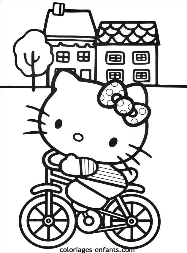 Free coloring and drawings Hello Kitty on Bike Coloring page