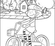 Coloring pages Little cyclist in front of her house