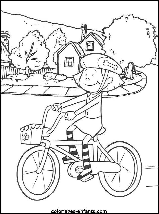 Free coloring and drawings Little cyclist in front of her house Coloring page