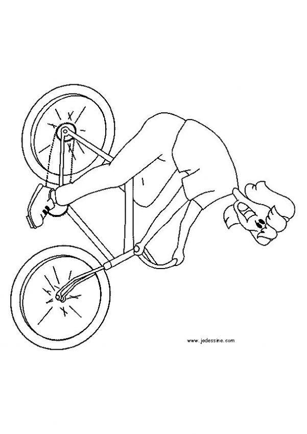 Free coloring and drawings Smiling woman on the bicycle Coloring page