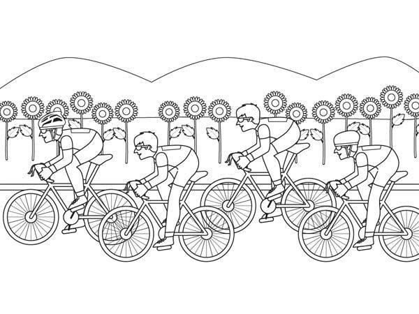 Free coloring and drawings Sport Cycling in nature Coloring page